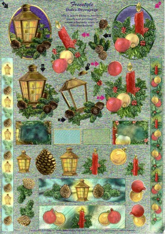 Christmas Lantern, Pine cone & Candle Freestyle 3d Decoupage Sheet From Dufex